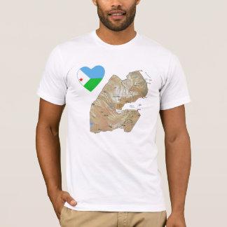 Djibouti Flag Heart and Map T-Shirt