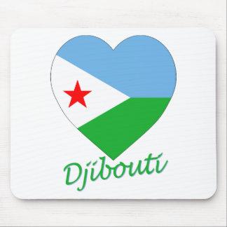 Djibouti Flag Heart Mouse Mat
