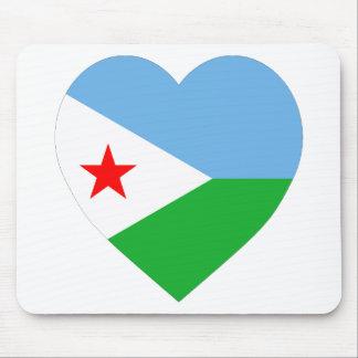 Djibouti Flag Heart Mouse Pads