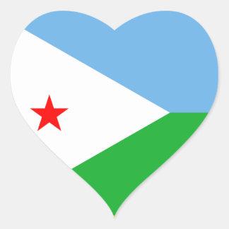 Djibouti Flag Heart Sticker