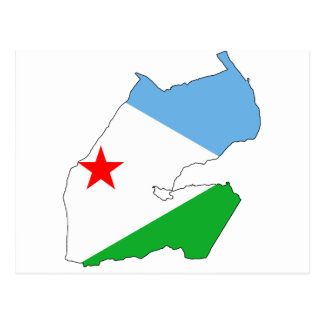 Djibouti Flag map DJ Postcard