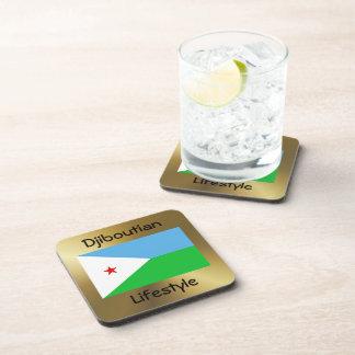 Djibouti Flag+Text Coaster