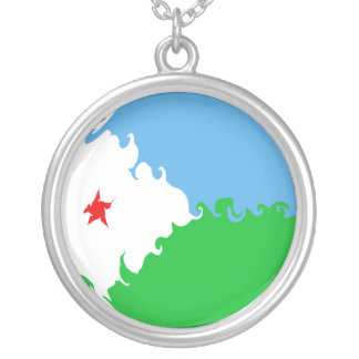 Djibouti Gnarly Flag Silver Plated Necklace