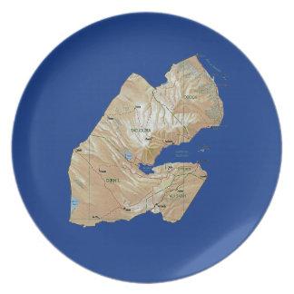 Djibouti Map Plate