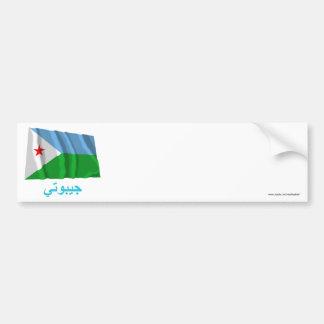 Djibouti Waving Flag with Name in Arabic Bumper Stickers