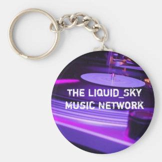 djing, The Liquid_Sky Music Network Basic Round Button Keychain