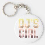 DJs Girl Basic Round Button Keychain