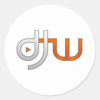 djw white classic round sticker
