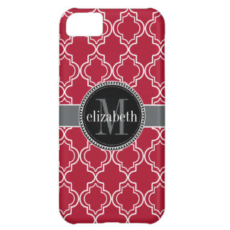 Dk Berry Red Black Moroccan Quatrefoil Monogram iPhone 5C Case