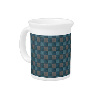 Dk Blue and Black Plaid Check Pitcher