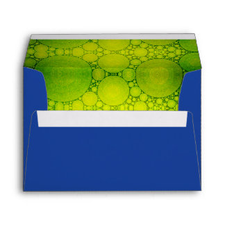 Dk blue custom pre-addressed lime bubble art lined envelope