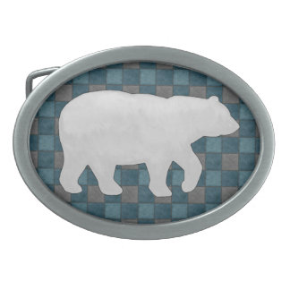 Dk Blue Plaid Check Belt Buckle with Grey Bear