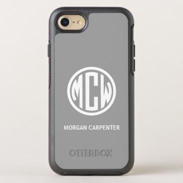 Dk Gray 3I White Circle Monogram Font DIY BG OtterBox Symmetry iPhone 8/7 Case