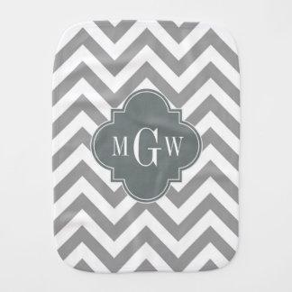 Dk Gray Lg Chevron Charcoal Quatrefoil 3 Monogram Baby Burp Cloth