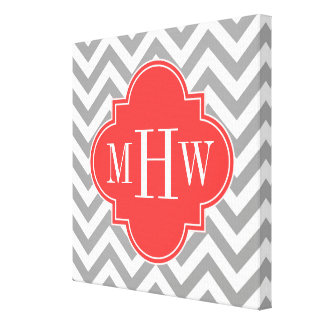 Dk Gray Lg Chevron Coral Red Quatrefoil 3 Monogram Canvas Print