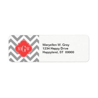 Dk Gray Lg Chevron Coral Red Quatrefoil 3 Monogram Label