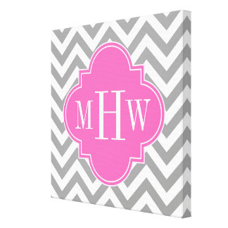 Dk Gray Lg Chevron Hot Pink Quatrefoil 3 Monogram Canvas Print