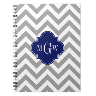 Dk Gray Lg Chevron Navy Quatrefoil 3 Monogram Note Book