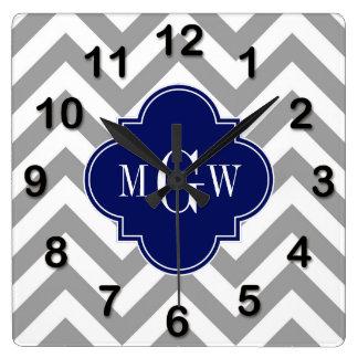 Dk Gray Lg Chevron Navy Quatrefoil 3 Monogram Square Wall Clock