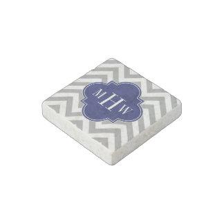 Dk Gray Lg Chevron Navy Quatrefoil 3 Monogram Stone Magnet