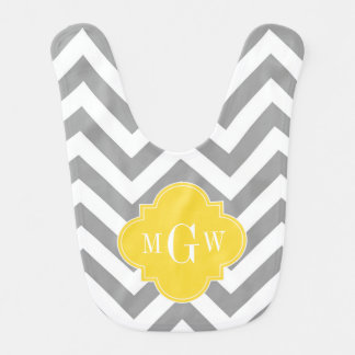 Dk Gray Lg Chevron Pineapple Quatrefoil 3 Monogram Bib