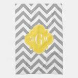 Dk Gray Lg Chevron Pineapple Quatrefoil 3 Monogram Hand Towel