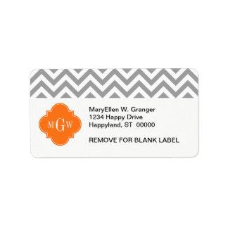 Dk Gray Lg Chevron Pumpkin Quatrefoil 3 Monogram Custom Address Labels
