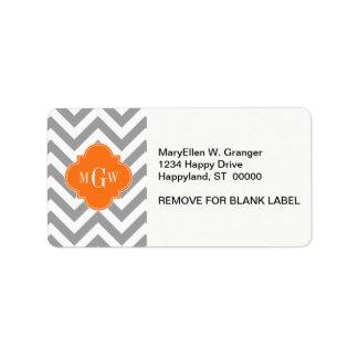 Dk Gray Lg Chevron Pumpkin Quatrefoil 3 Monogram Labels