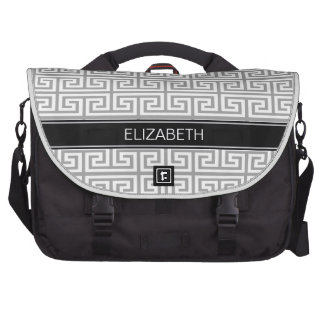Dk Gray Med Greek Key T #2 Black Name Monogram Commuter Bag