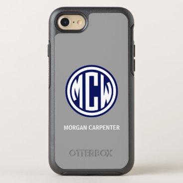 Dk Gray Navy 3I White Circle Monogram Font DIY BG OtterBox Symmetry iPhone 8/7 Case