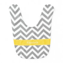 Dk Gray White LG Chevron Pineapple Name Monogram Baby Bib