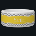 """Dk Gray White LG Chevron Pineapple Name Monogram Bowl<br><div class=""""desc"""">Dark Gray and White Large Chevron Zig Zag Pattern, Pineapple Yellow Ribbon Name Monogram Label Customize this with your name, monogram or other text. You can also change fonts, adjust font sizes and font colors, move the text, add text fields, etc. Please note that this is a digitally created graphic...</div>"""