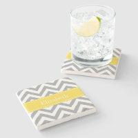 Dk Gray White LG Chevron Pineapple Name Monogram Stone Coaster