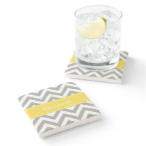 Dk Gray White LG Chevron Pineapple Name Monogram Stone Coaster