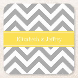 Dk Gray White LG Chevron Pineapple Name Monogram Square Paper Coaster