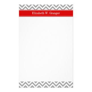 Dk Gray White LG Chevron Red Name Monogram Stationery