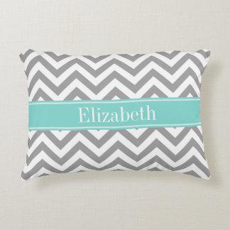 Dk Gray White LG Chevron Turquoise Name Monogram Accent Pillow