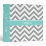 Dk Gray White LG Chevron Turquoise Name Monogram Binders