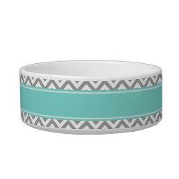 Dk Gray White LG Chevron Turquoise Name Monogram Bowl