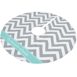 Dk Gray White LG Chevron Turquoise Name Monogram Brushed Polyester Tree Skirt