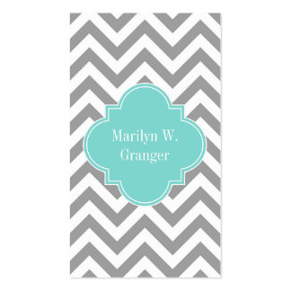 Dk Gray White LG Chevron Turquoise Name Monogram Double-Sided Standard Business Cards (Pack Of 100)