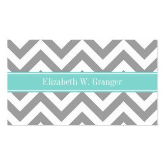 Dk Gray White LG Chevron Turquoise Name Monogram Business Card Template