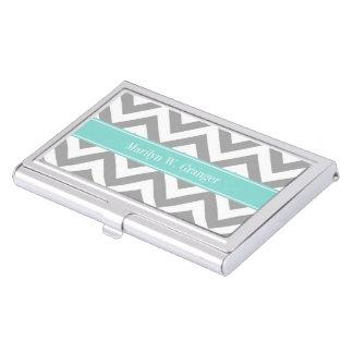 Dk Gray White LG Chevron Turquoise Name Monogram Business Card Case