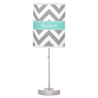 Dk Gray White LG Chevron Turquoise Name Monogram Desk Lamp