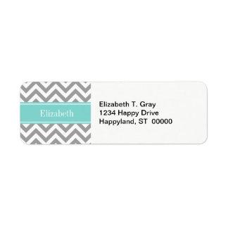 Dk Gray White LG Chevron Turquoise Name Monogram Label