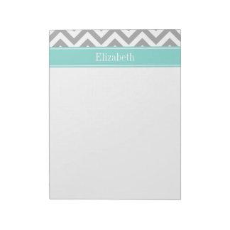 Dk Gray White LG Chevron Turquoise Name Monogram Note Pad
