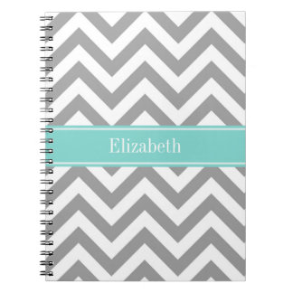 Dk Gray White LG Chevron Turquoise Name Monogram Notebook