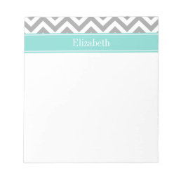 Dk Gray White LG Chevron Turquoise Name Monogram Notepad