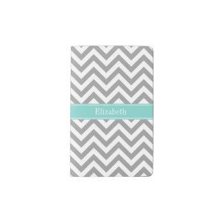 Dk Gray White LG Chevron Turquoise Name Monogram Pocket Moleskine Notebook