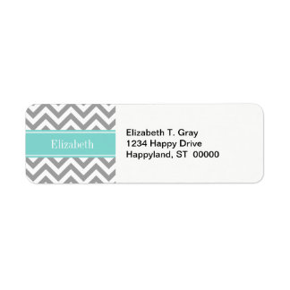 Dk Gray White LG Chevron Turquoise Name Monogram Return Address Label